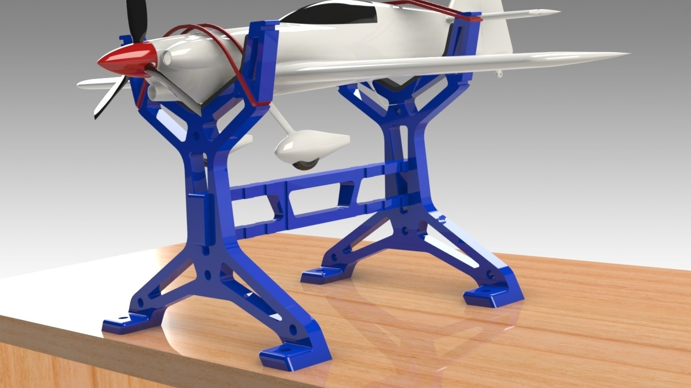 """RC Table Stand (6).jpg Download STL file Table STAND for RC PLANE """"IRONMAN"""" • 3D print template, Trikonics"""