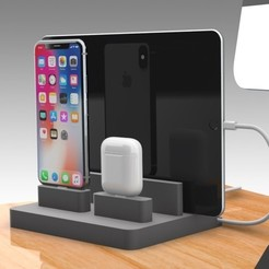 Download 3D printing designs Apple Travel and Dock Charging Station, Trikonics