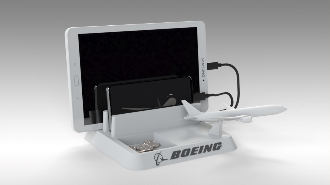Untitled 625.jpg Download STL file BOEING - ANDROID - CELL PHONE AND TABLET HOLDER • 3D printing model, Trikonics