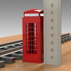 PhoneBooth (6).jpg Download STL file MODEL TRAIN HOBBY Combo Pack - FIRE HYDRANT, PHONE BOOTH, STREET LIGHT PROP • 3D printing object, Trikonics