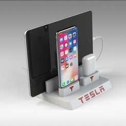Untitled 690.jpg Download STL file Tesla Iphone Docking Station • 3D printable template, Trikonics