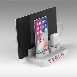 Untitled 690.jpg Télécharger fichier STL Station d'accueil pour Iphone Tesla • Design pour imprimante 3D, Trikonics