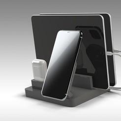 Untitled 715.jpg Download STL file iPhone MagSafe Wireless Charging Station • 3D printer design, Trikonics