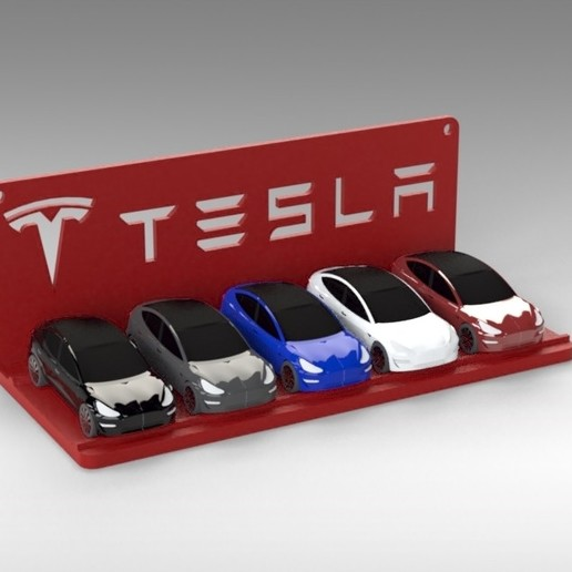 Untitled 686.jpg Download STL file Tesla Hot Wheels Stand • 3D printing model, Trikonics