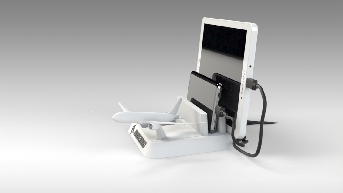 Untitled 628.jpg Download STL file BOEING - ANDROID - CELL PHONE AND TABLET HOLDER • 3D printing model, Trikonics