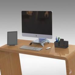 Descargar modelos 3D para imprimir Combo Pack Desk Items - MONITOR STAND, ORGANIZADOR DE ESCRITORIO CON DIVISOR y MESA PLEGABLE PARA IPAD, TABLETAS DE LECTURA ELECTRÓNICA E IPHONE 10S MAX & IPHONE PLUS SIZES, Trikonics