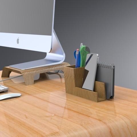 3D printing model Desk Organizer with Divider, Trikonics