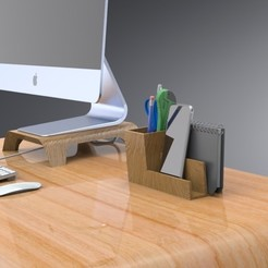3D printing model Desk Organizer with Divider, Trikonics