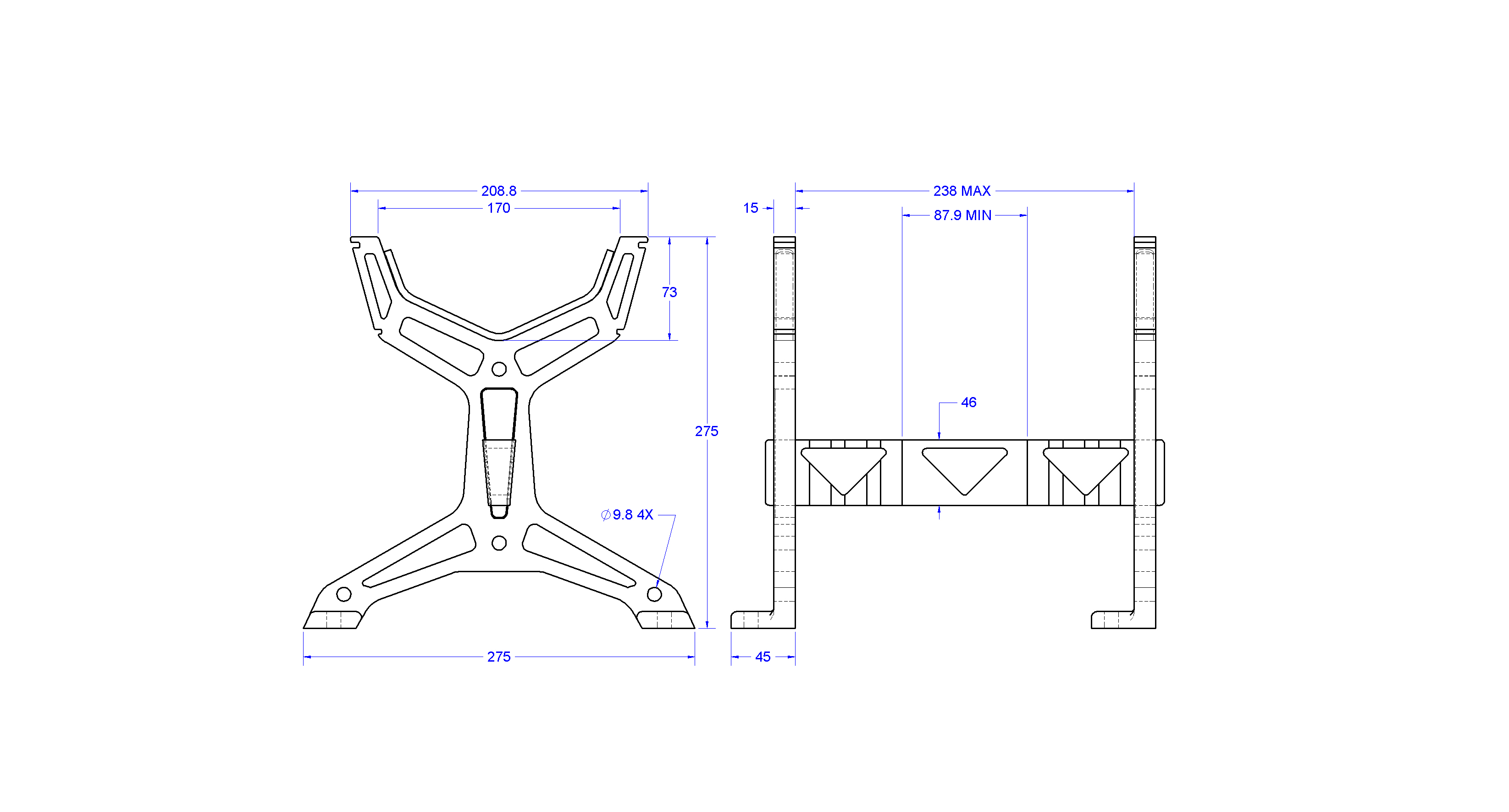 """RC Table Stand DWG.JPG Download STL file Table STAND for RC PLANE """"IRONMAN"""" • 3D print template, Trikonics"""