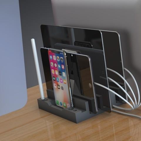 Télécharger fichier impression 3D Station de charge et organiseur multi-périphériques - Design contemporain, Trikonics