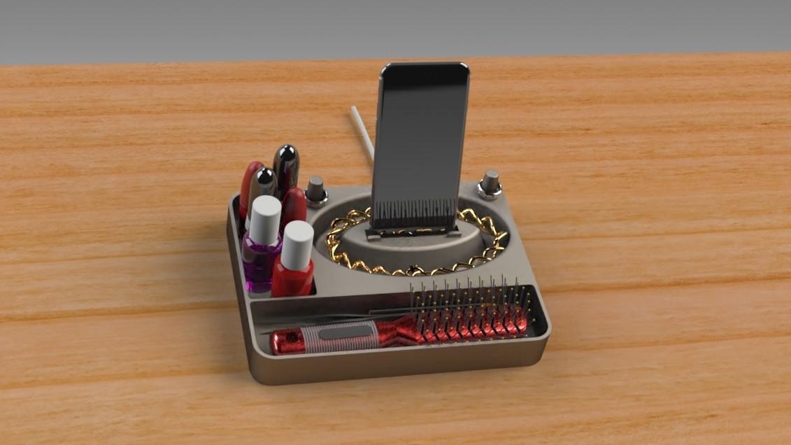 Jewelry Box (10).jpg Télécharger fichier STL gratuit Organisateur de maquillage Smart Dock • Design à imprimer en 3D, Trikonics