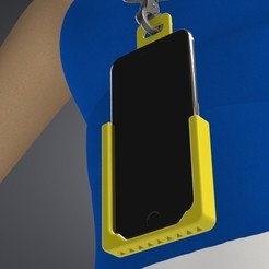Download 3D printing designs Wearable Mobile Phone Neck Holder Hands Free for iPhone XS & 6, Trikonics