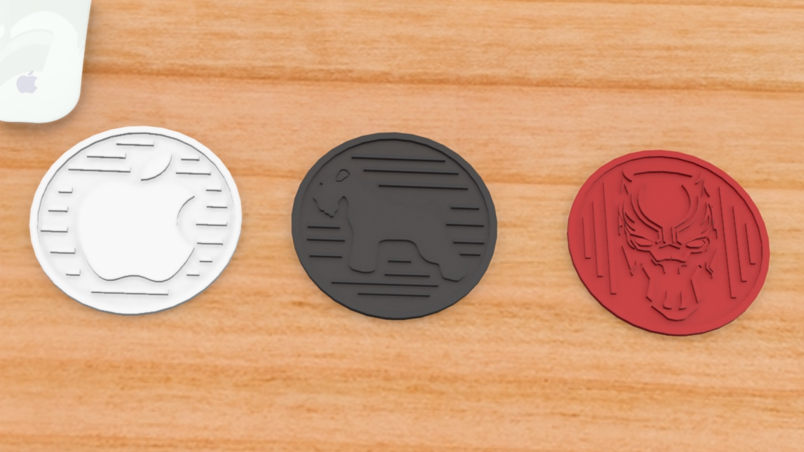 Untitled 474.jpg Download free STL file Drink Coasters Themed characters: Black Panther, Schnauzer, Apple Logo • 3D printing model, Trikonics