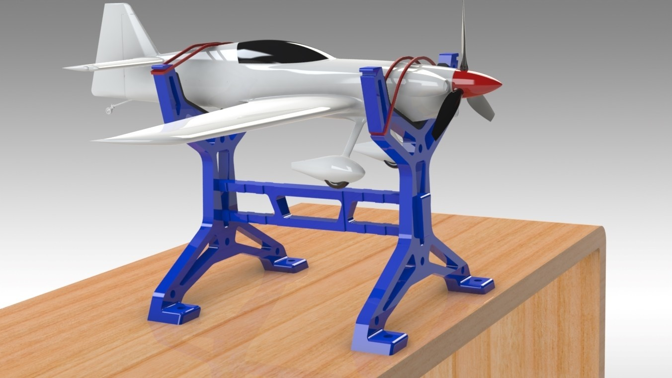 """RC Table Stand (4).jpg Download STL file Table STAND for RC PLANE """"IRONMAN"""" • 3D print template, Trikonics"""