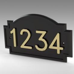 Télécharger plan imprimante 3D Plaque murale d'adresse avec numéros personnalisés, Trikonics