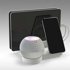 Untitled 721.jpg Télécharger fichier STL Apple HomePod MINI et IPHONE MAGSAFE WIRELESS CHARGING STATION • Objet imprimable en 3D, Trikonics