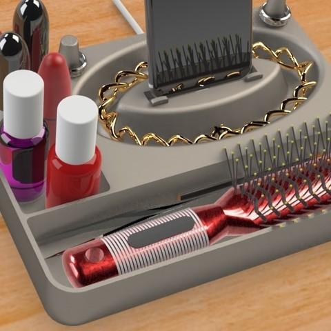 Jewelry Box (4).jpg Télécharger fichier STL gratuit Organisateur de maquillage Smart Dock • Design à imprimer en 3D, Trikonics