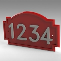 3D printer models Address Wall Plate with Custom Numbers , Trikonics