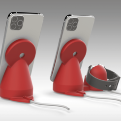 Untitled 757.png Download STL file iPhone and Apple Watch MAGSAFE charger Stand - 2 OPTIONS • 3D printer object, Trikonics
