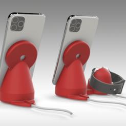 Untitled 757.png Télécharger fichier STL Support chargeur MAGSAFE pour iPhone et Apple Watch - 2 OPTIONS • Plan pour impression 3D, Trikonics