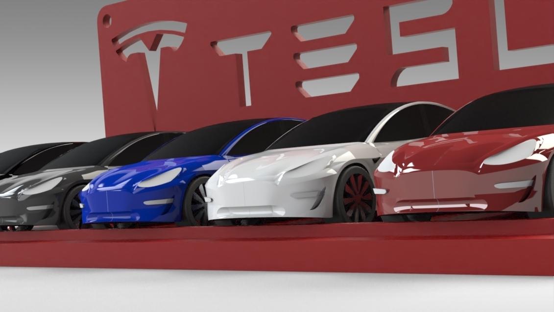 Untitled 689.jpg Download STL file Tesla Hot Wheels Stand • 3D printing model, Trikonics
