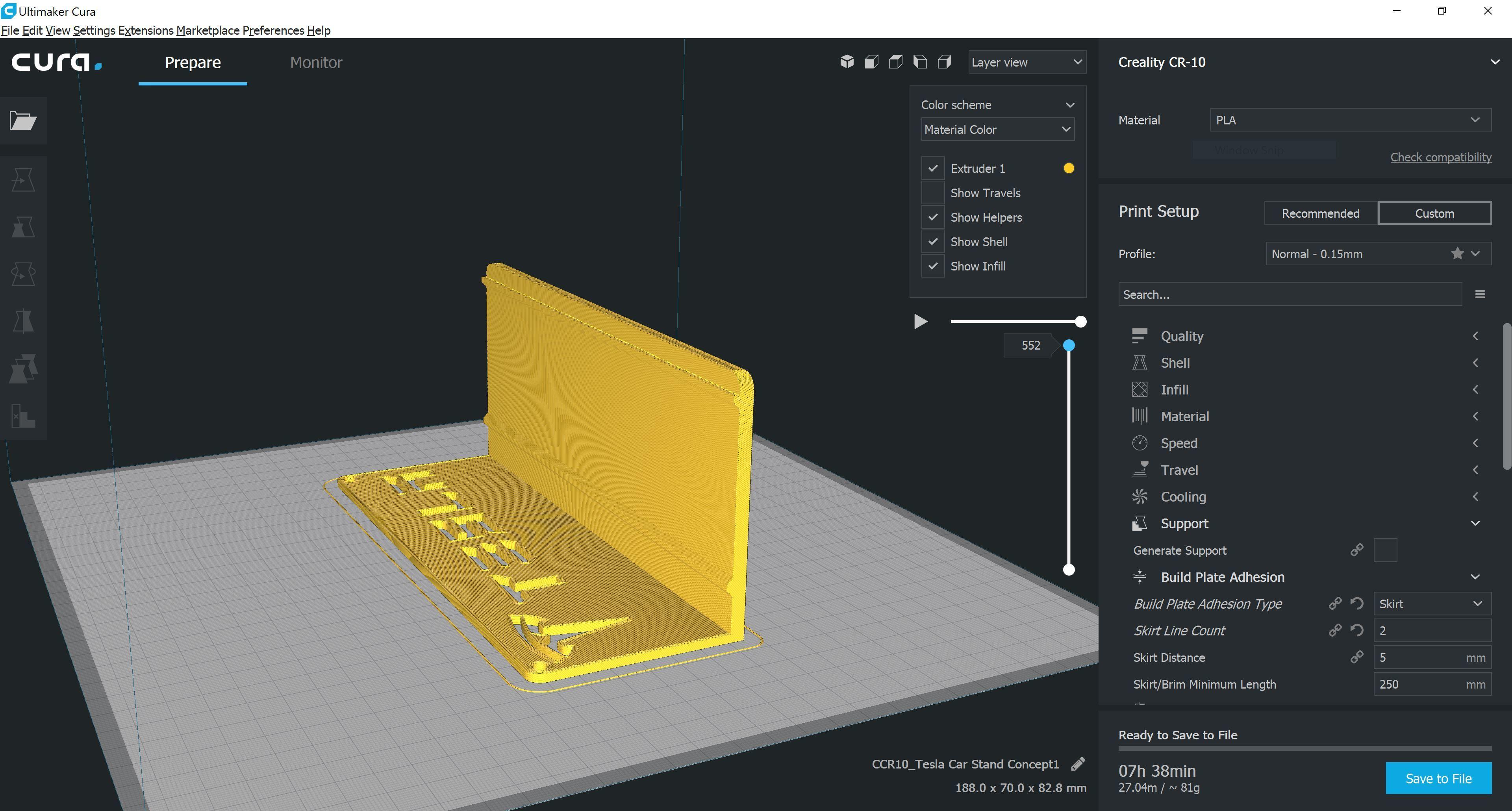 Cura1.JPG Download STL file Tesla Hot Wheels Stand • 3D printing model, Trikonics