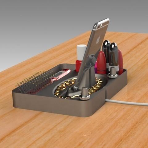 Jewelry Box (8).jpg Télécharger fichier STL gratuit Organisateur de maquillage Smart Dock • Design à imprimer en 3D, Trikonics