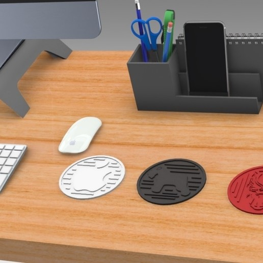 Untitled 475.jpg Download free STL file Drink Coasters Themed characters: Black Panther, Schnauzer, Apple Logo • 3D printing model, Trikonics
