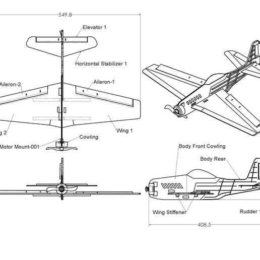 Chuck Glider Assy DWG P1.JPG Download free STL file V1 Release - New RC Plane • 3D printable design, Trikonics