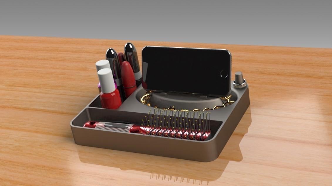 Jewelry Box (11).jpg Télécharger fichier STL gratuit Organisateur de maquillage Smart Dock • Design à imprimer en 3D, Trikonics
