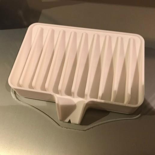 IMG_1255.JPG Télécharger fichier STL gratuit Porte-savon Lave-toi les mains, sois prudent 👍🏻 • Objet pour imprimante 3D, Trikonics
