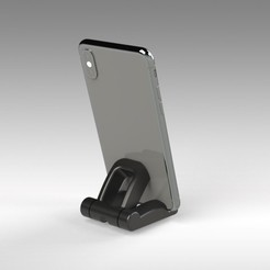 Ergostand (4).jpg Download STL file ERGOSTAND - FOR CELL PHONES AND TABLETS - FOLDING • 3D printable object, Trikonics