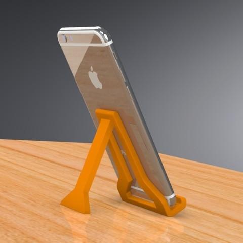 Objet 3D Mini support pour téléphone portable - PLIANT - Version II, Trikonics