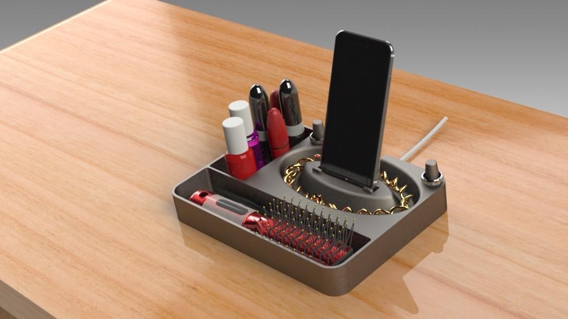 Jewelry Box (7).jpg Télécharger fichier STL gratuit Organisateur de maquillage Smart Dock • Design à imprimer en 3D, Trikonics
