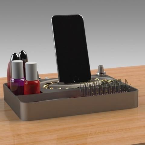Jewelry Box (5).jpg Télécharger fichier STL gratuit Organisateur de maquillage Smart Dock • Design à imprimer en 3D, Trikonics