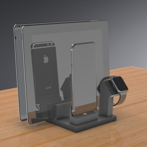 STL file Apple Smart Dock for iPad, iPhone and Apple Watch. Now with Optional Configurations, Trikonics