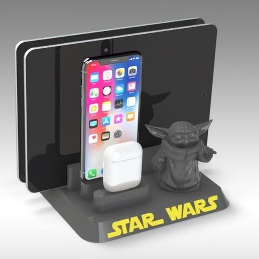 Impresiones 3D Estación de acoplamiento de la tableta Iphone Baby Yoda, Trikonics