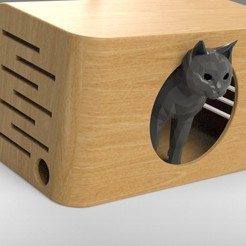 Download 3D printing templates Cat House Modern - FULL SIZE, Trikonics
