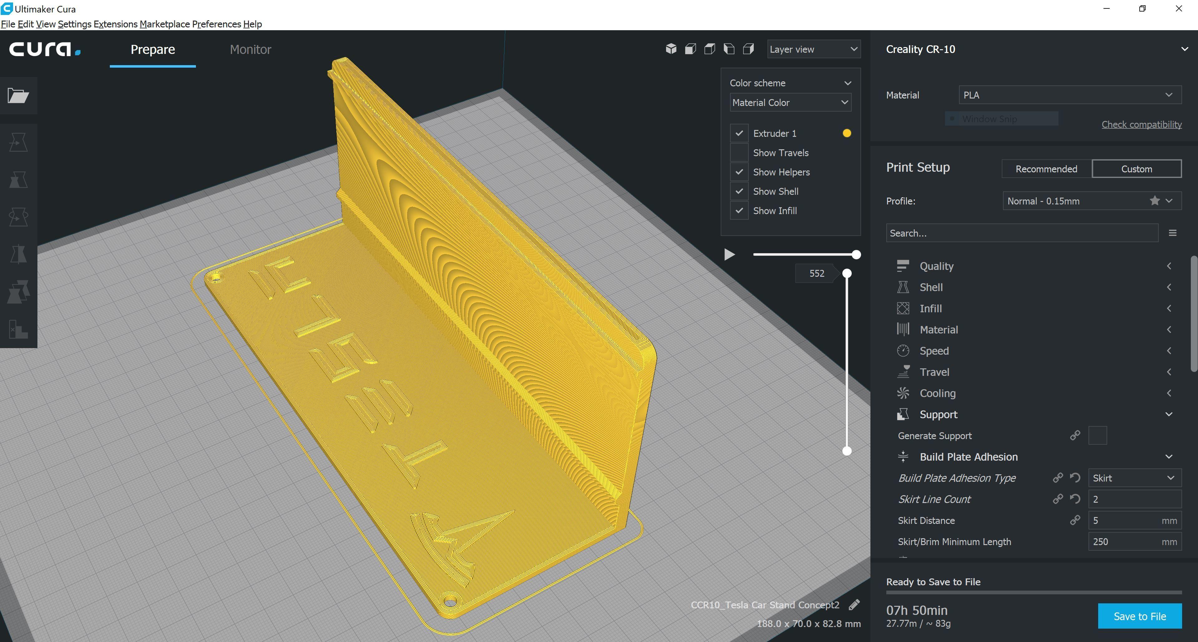 Cura2.JPG Download STL file Tesla Hot Wheels Stand • 3D printing model, Trikonics