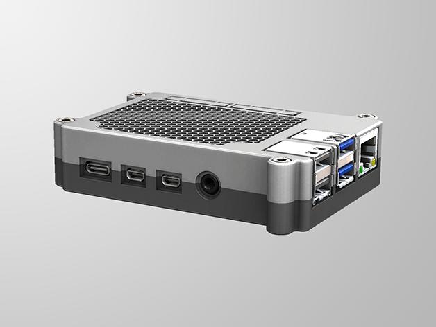 RPI4-1.png Télécharger fichier STL gratuit Étui Pi 4B Framboise Framboise • Objet pour imprimante 3D, mkellsy