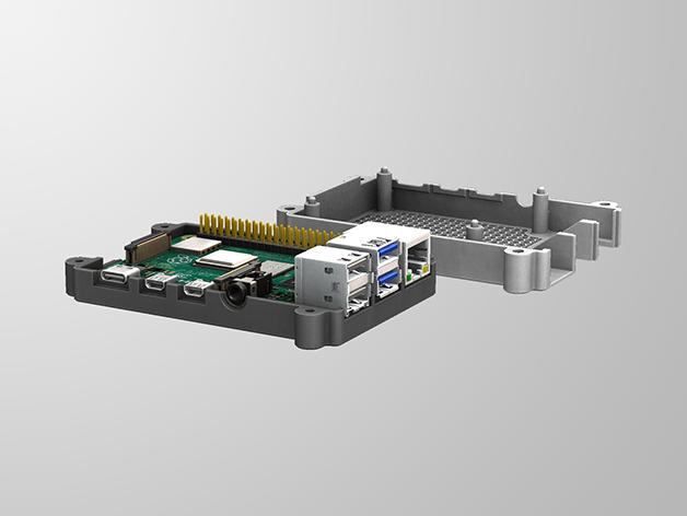 RPI4-3.png Télécharger fichier STL gratuit Étui Pi 4B Framboise Framboise • Objet pour imprimante 3D, mkellsy