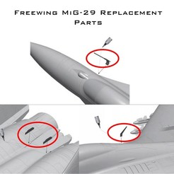 MiG29 Bits.jpg Download free STL file Freewing Twin 80mm MiG-29 Fulcrum - Replacement Plastic Detail Parts • 3D printable design, DirtyDee