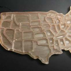 Free 3D printer files US map keychain (separate states), shasha