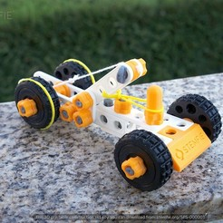 Download free 3D printing templates STEMFIE rubber-band-driven car, Stemfie3D