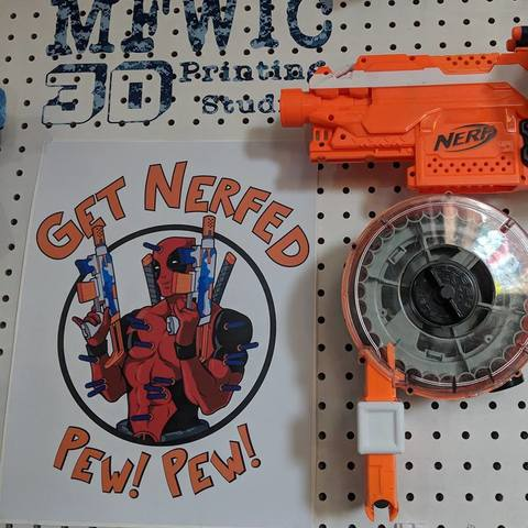 Download 3D printing files Nerf Drum Pegboard mount, MFWIC3D
