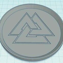 Capture.JPG Télécharger fichier STL gratuit Sous-verre du symbole 2 de la noix de Valknut • Modèle à imprimer en 3D, jcagle0810