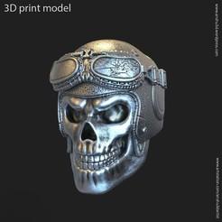 Télécharger fichier imprimante 3D Pendentif crâne de casque de motard vol3, AS_3d_art