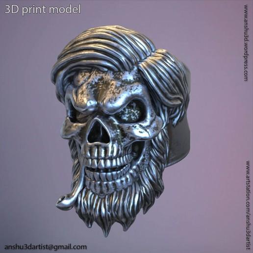 Download 3D printing templates Skull bearded vol5 ring, AS_3d_art