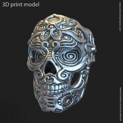 Download 3D print files Biker Skull vol12 ring, AS_3d_art