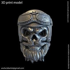 Download 3D printing models Biker helmet skull vol2 pendant, AS_3d_art